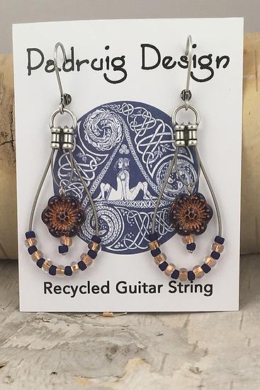 Navy Wild Rose Guitar String Earrings