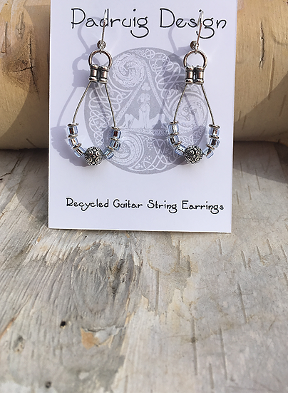 Recycled Guitar String Earrings Ice Blue