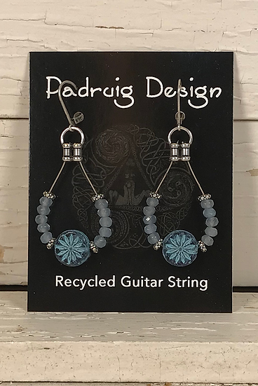 Pale Blue Aster Guitar String Earrings