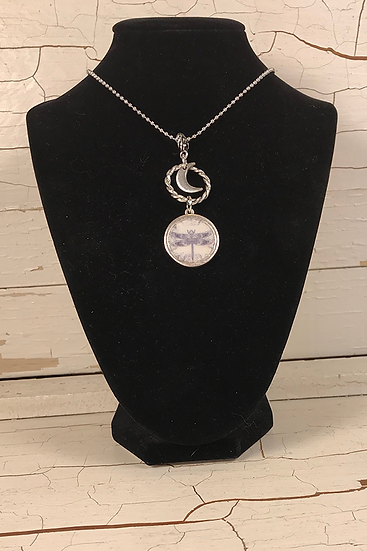Silver Celtic Dragonfly Necklace with Moon