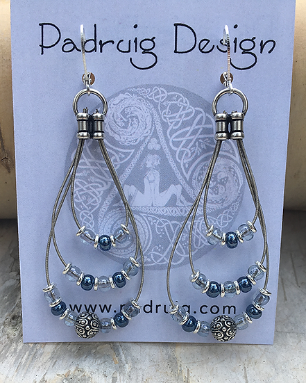 Recycled Guitar String Earrings Montana Blue