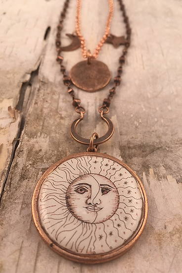 Copper Sun, Moon, & Stars Double Necklace