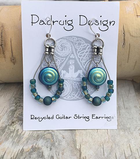 Blue Spiral Guitar String Earrings