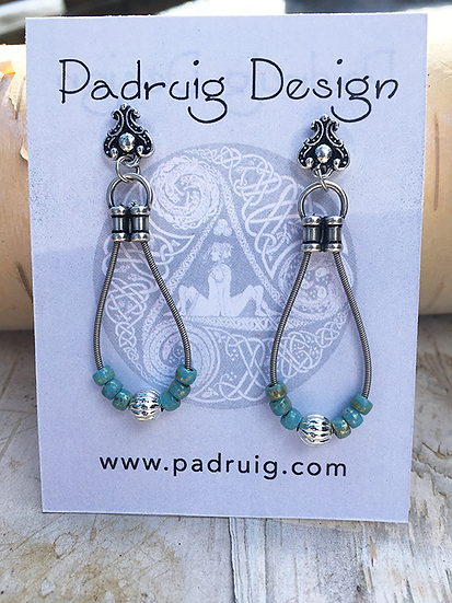 Recycled Guitar String Earrings Turquoise