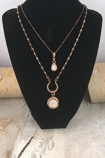 Copper Two Strand Sun, Moon, & Stars Necklace