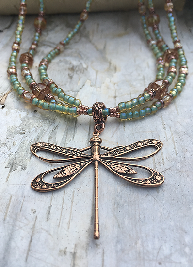 Copper Dragonfly 3 Strand Necklace