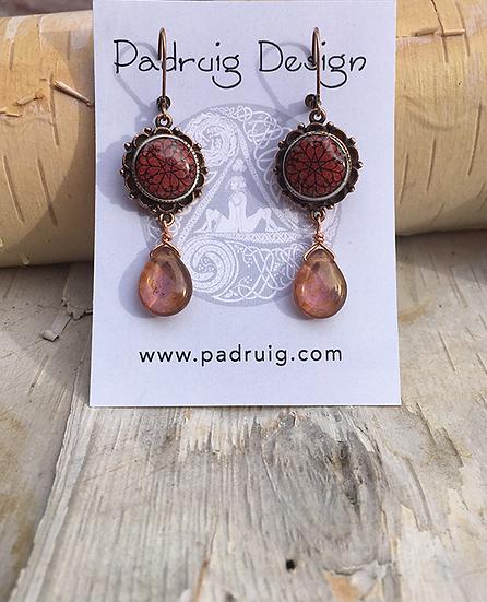 Antique Copper Troyes Star Drop Earrings
