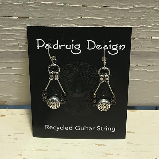 Coffee Celtic Guitar String Earrings