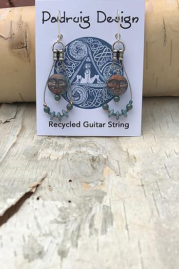 Full Moon New Moon Guitar String Earrings
