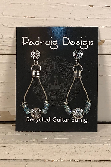 Blue Rainbow Guitar String Earrings