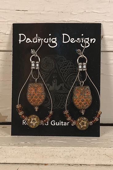 Rust Owl Guitar String Earrings