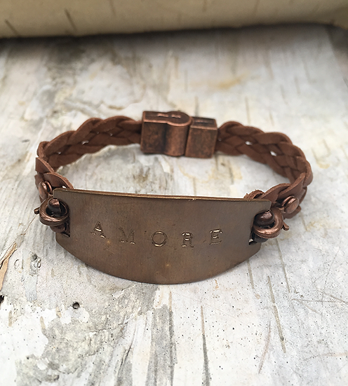 Hand Stamped Amore Brown Leather Bracelet