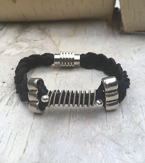 Black Hemp Electric Guitar String Bracelet