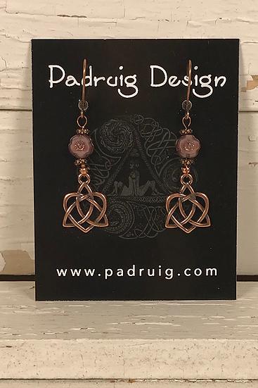 Copper Rose Trinity Heart Earrings