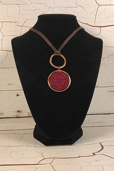 Copper Garnet Troyes Star Deerskin Lace Necklace