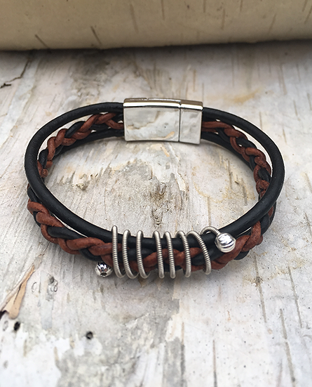 Black and Brown Leather Guitar String Bracelet