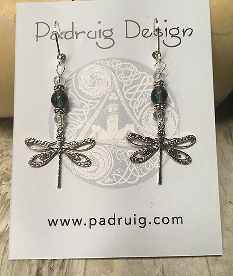 Silver Dragonfly and Montana Blue Earrings