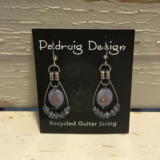 Lavender Cat Guitar String Earrings