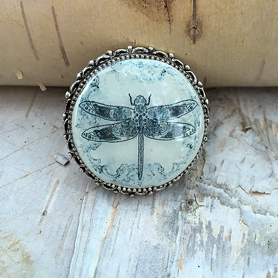Grey Dragonfly Pin/Pendant