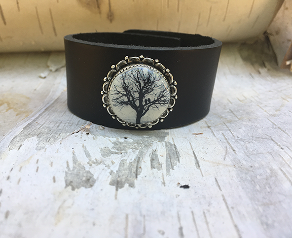 Antique Silver Raven Tree Cuff Black