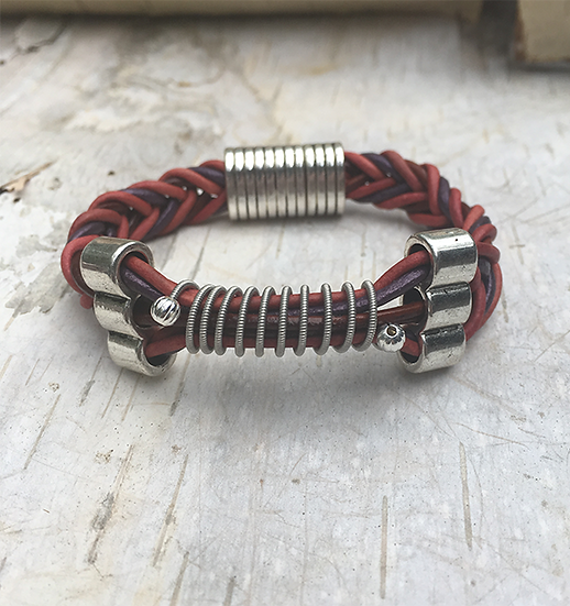 Leather Multi Electric Guitar String Bracelet