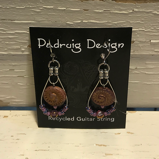 Mauve Fossil Guitar String Earrings