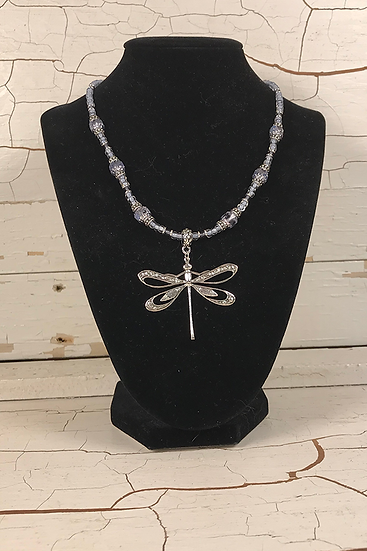 Silver Dragonfly Necklace Alexandrite