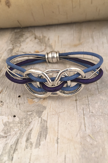 Silver 3 Mini Circle Blue Guitar String Bracelet