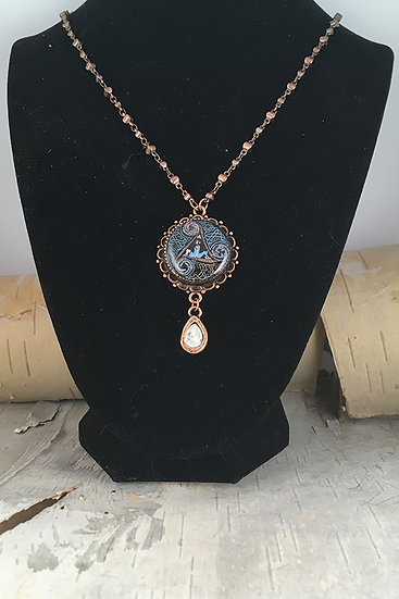 Copper Multi Circle Of Life with Crystal Teardrop Necklace