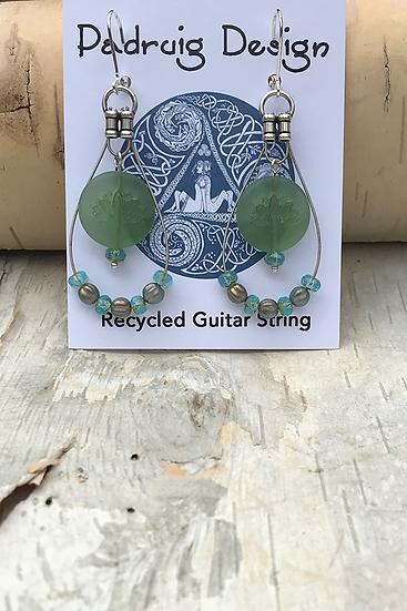 Sea Green Lotus Guitar String Earrings