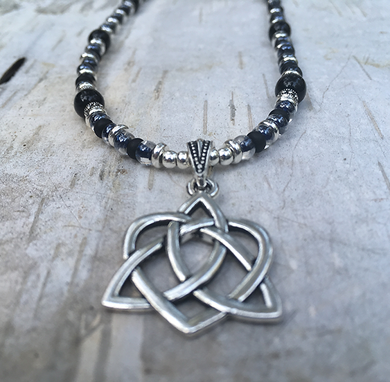Trinity Heart Jet Black Necklace