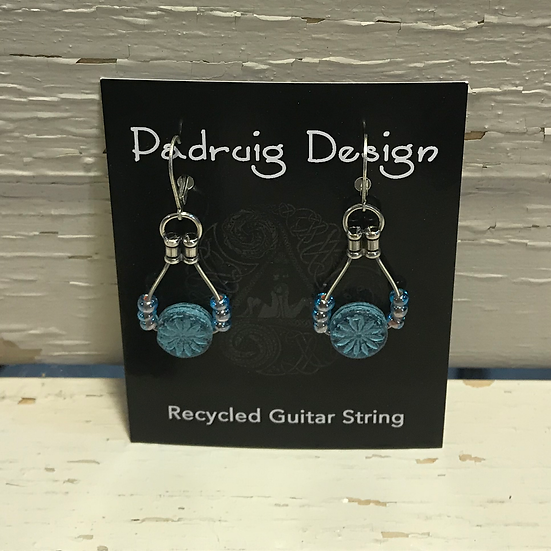 Blue Aster Guitar String Earrings