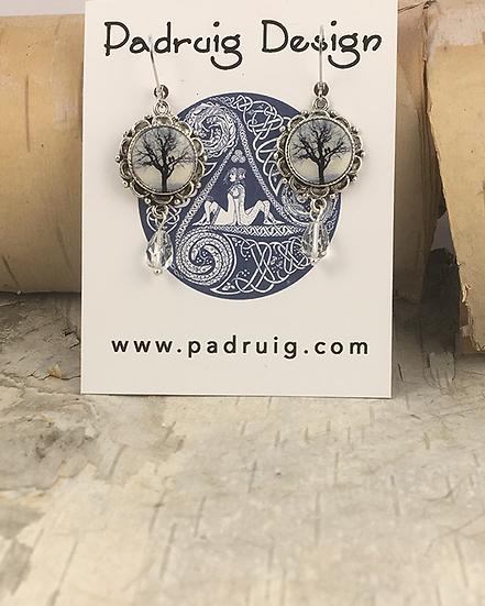 Silver Raven Tree Drop Earrings