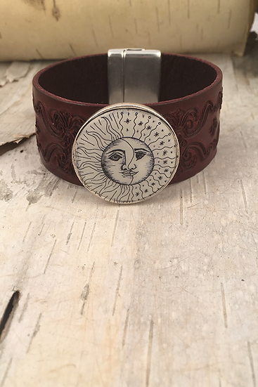 Silver Sun, Moon, & Stars Tooled Burgundy Leather Bracelet