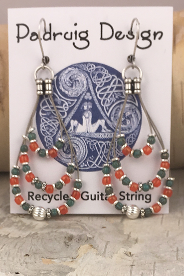 Triple Guitar String Earrings