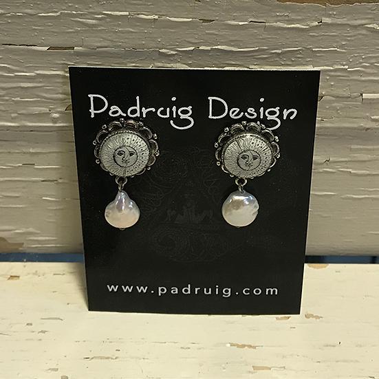 Silver Sun, Moon, and Star Earrings