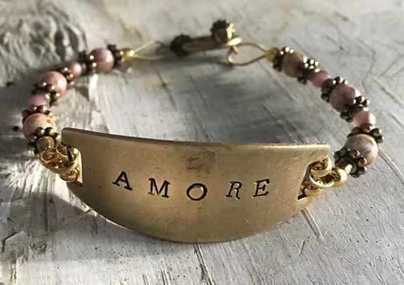 Amore Hand Stamped Bracelet