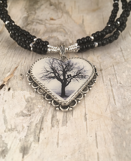 Antique Silver Raven Tree Heart Necklace