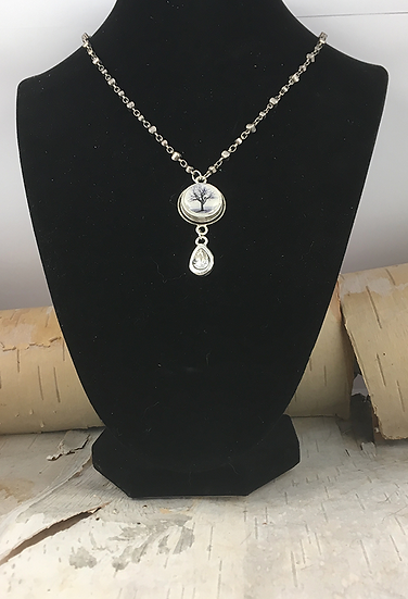Silver Raven Tree with Crystal Teardrop Necklace