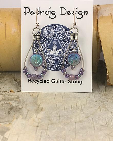 Purple Spiral Guitar String Earrings