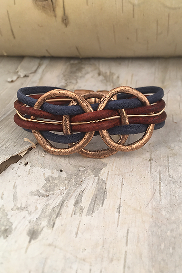 Copper 3 Circle Guitar String Bracelet