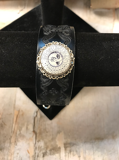 Silver Sun, Moon, and Star Navy Tooled Leather Bracelet