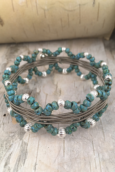 Electric Guitar String Bangle Turquoise
