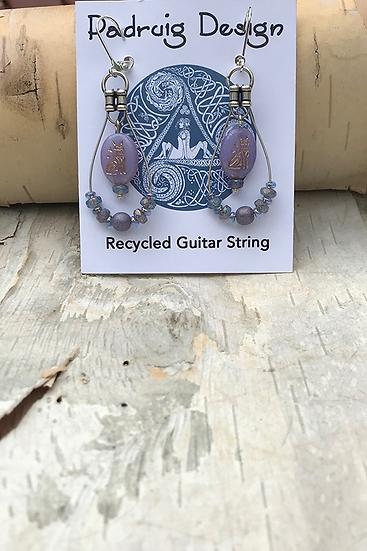 Elderberry Cat Guitar String Earrings