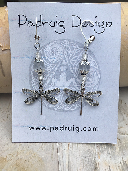 Silver and Crystal Dragonfly Earrings