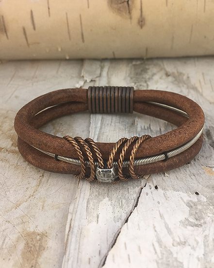 Brown Leather Bass String Bracelet