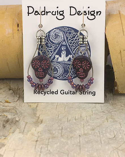Purple Sugar Skull Guitar String Earrings