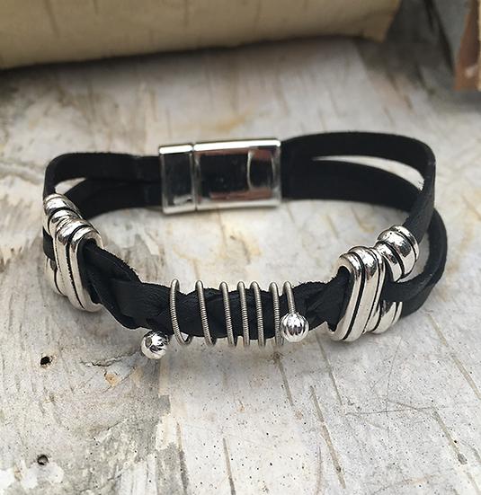 Black Deerskin Guitar String Bracelet