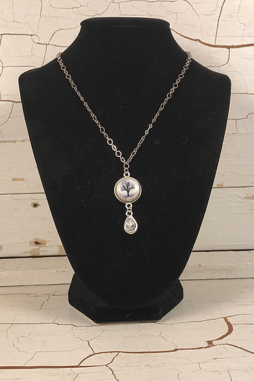 Silver Raven Tree Mini Necklace with Crystal Drop
