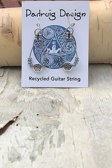 Pale Blue Luster Bass String Earrings